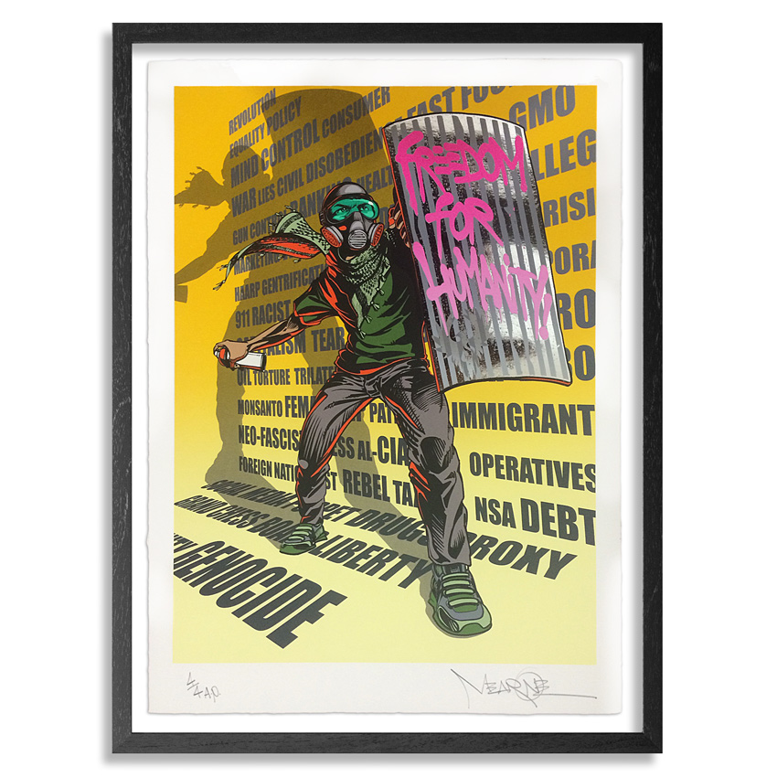 Mear One Art Print - Freedom For Humanity - Chrome Edition