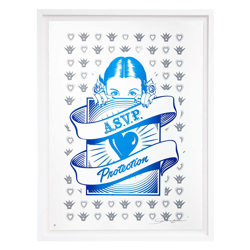 ASVP Art Print - Protection Girl - Blue & Silver Edition