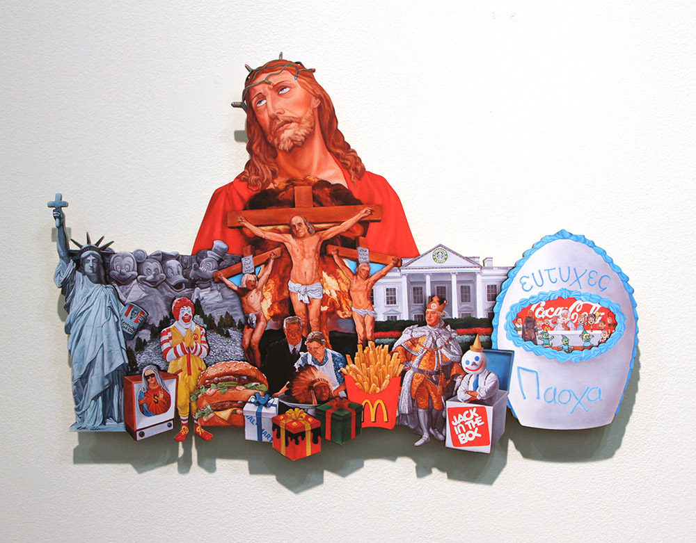 Peter Adamyan Art Print - Wood Cut Out - Painting to a Christian Nation (God Bless This Mess)