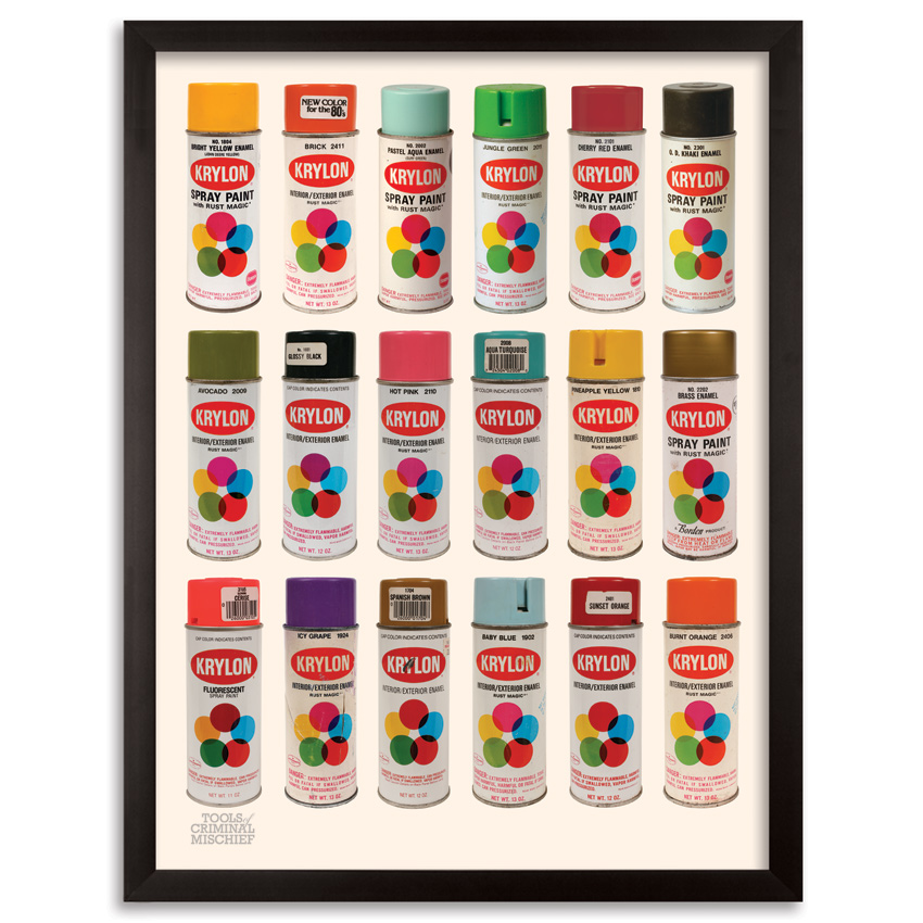 Roger Gastman Art Print - Tools of Criminal Mischief : The Cans IV - Krylon Edition