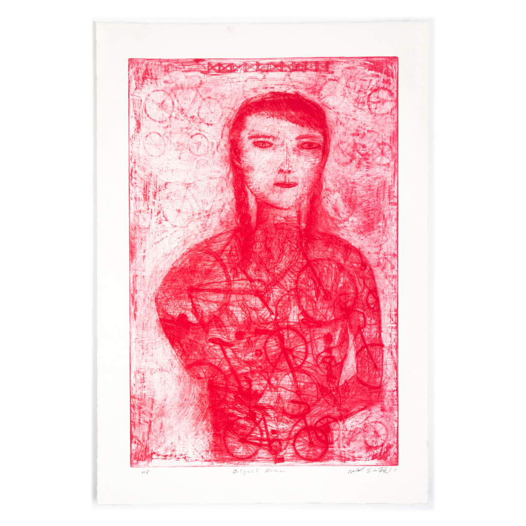 Robert Sestok Art Print - Bicycle Girl (Red) - Artist Proof II - 2017