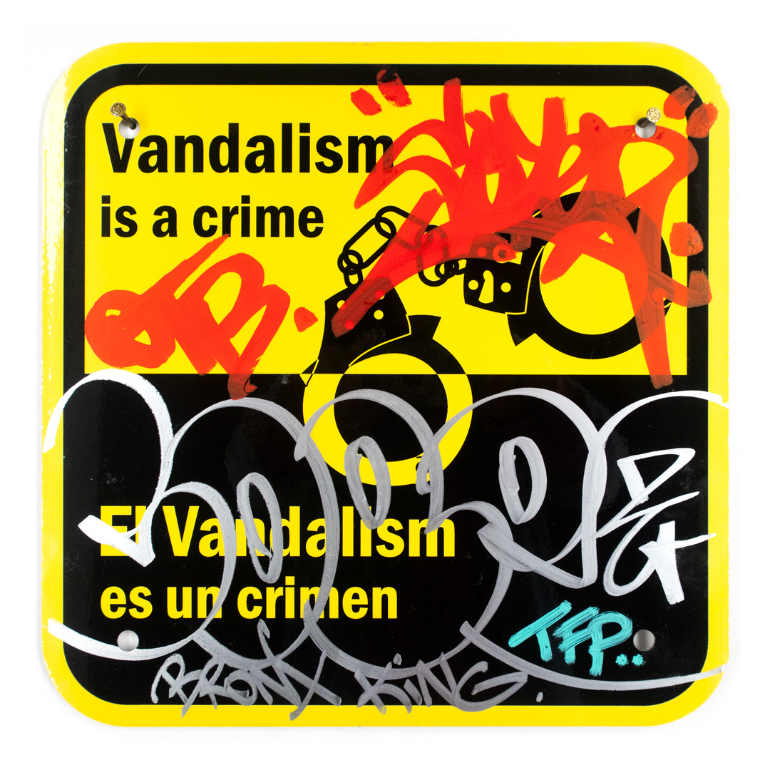 Cope2 Original Art - Vandalism Is A Crime - 12 x 12 Inches - I