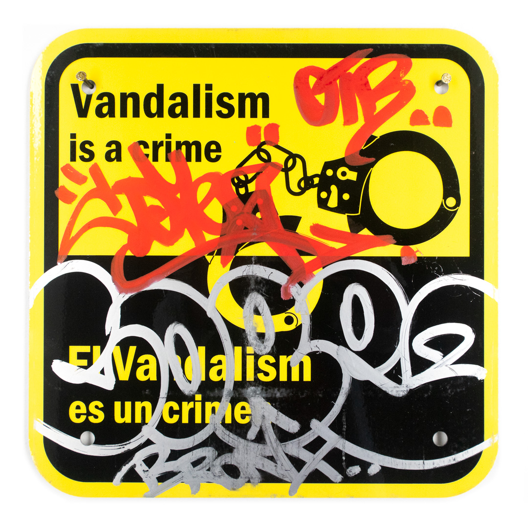 Cope2 Original Art - Vandalism Is A Crime - 12 x 12 Inches - III