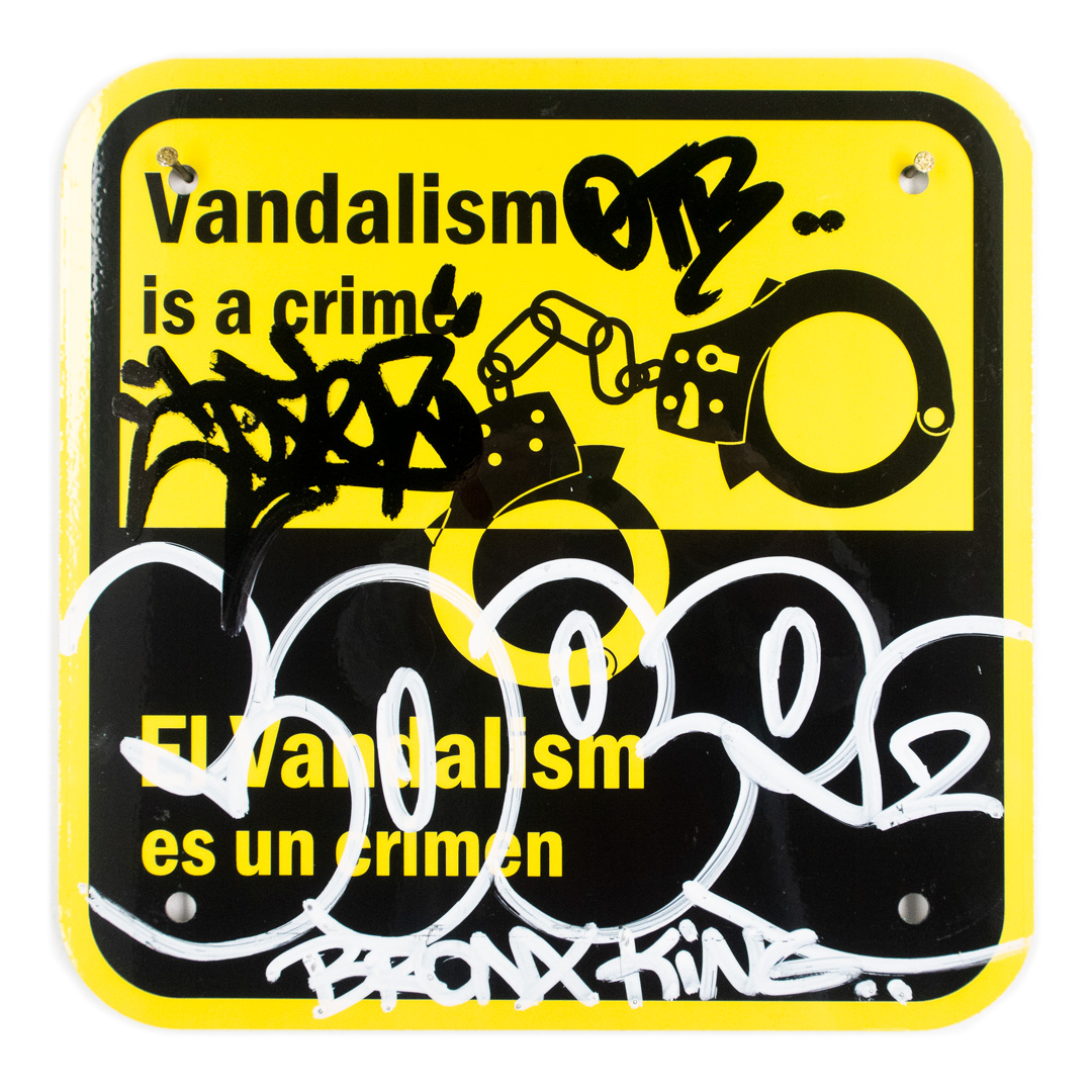 Cope2 Original Art - Vandalism Is A Crime - 12 x 12 Inches - IV