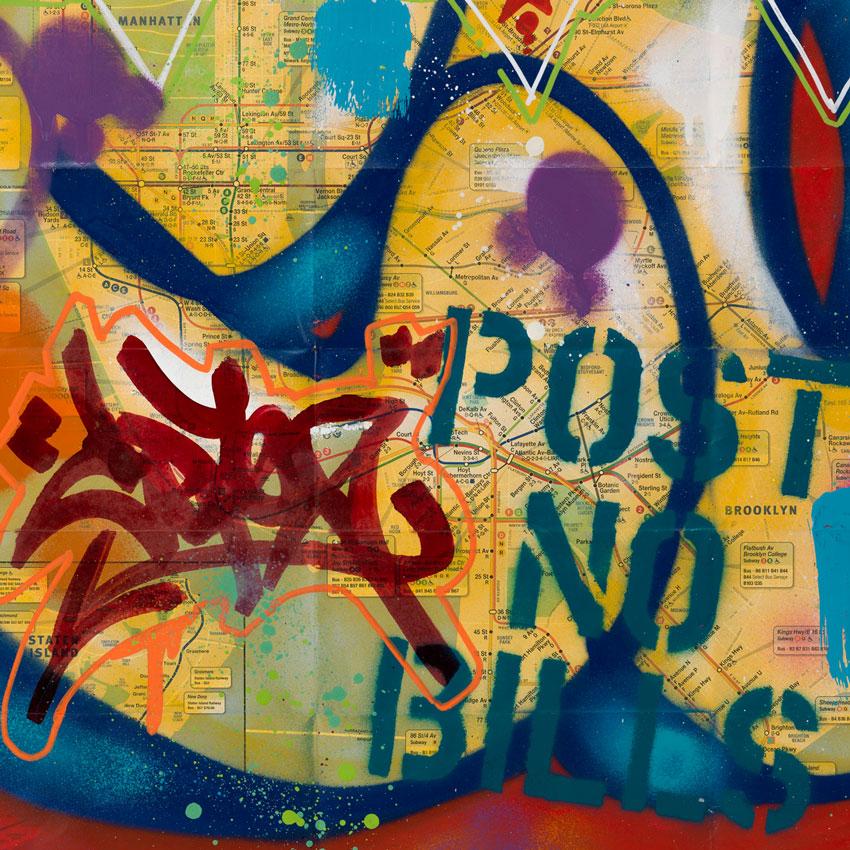 City Subway Map Art.Cope2 Original Art New York City Subway Map Ii Original Artwork