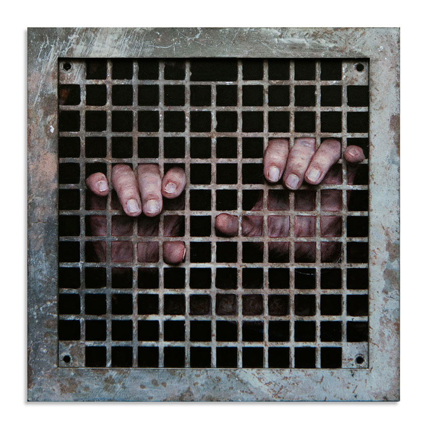 Dan Witz Original Art - Two Hand (Sq. Grate)