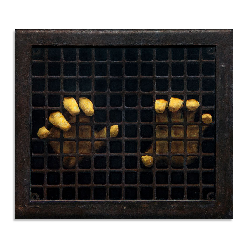 Dan Witz Original Art - Two Yellow Gloves (Rusty Grate)