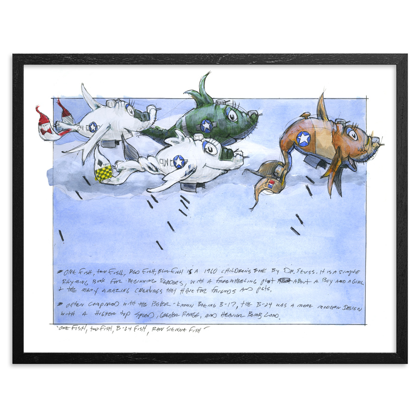 Derek Hess Art Print - One Fish, Two Fish, B-24 Fish, Raw Sienna Fish - Limited Edition Print