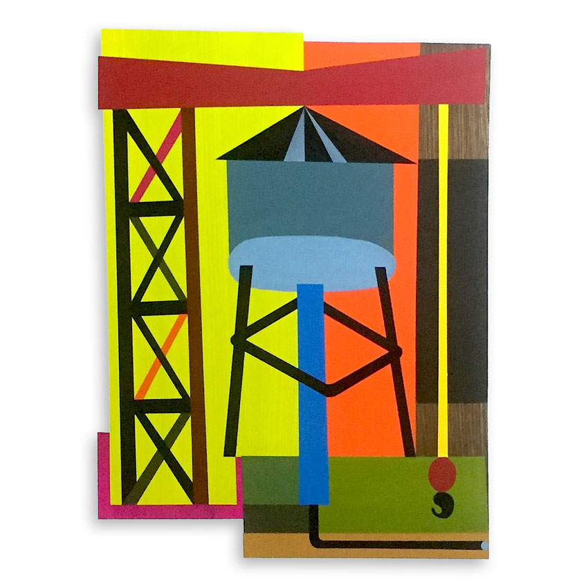 Jesse Kassel Original Art - Crane Resting On A Water Tower