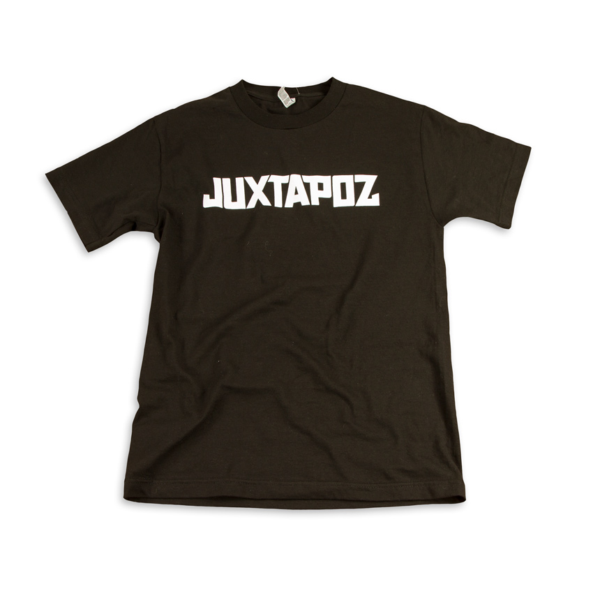 1xRUN Art - Medium - Juxtapoz Logo T-Shirt - White on Balck
