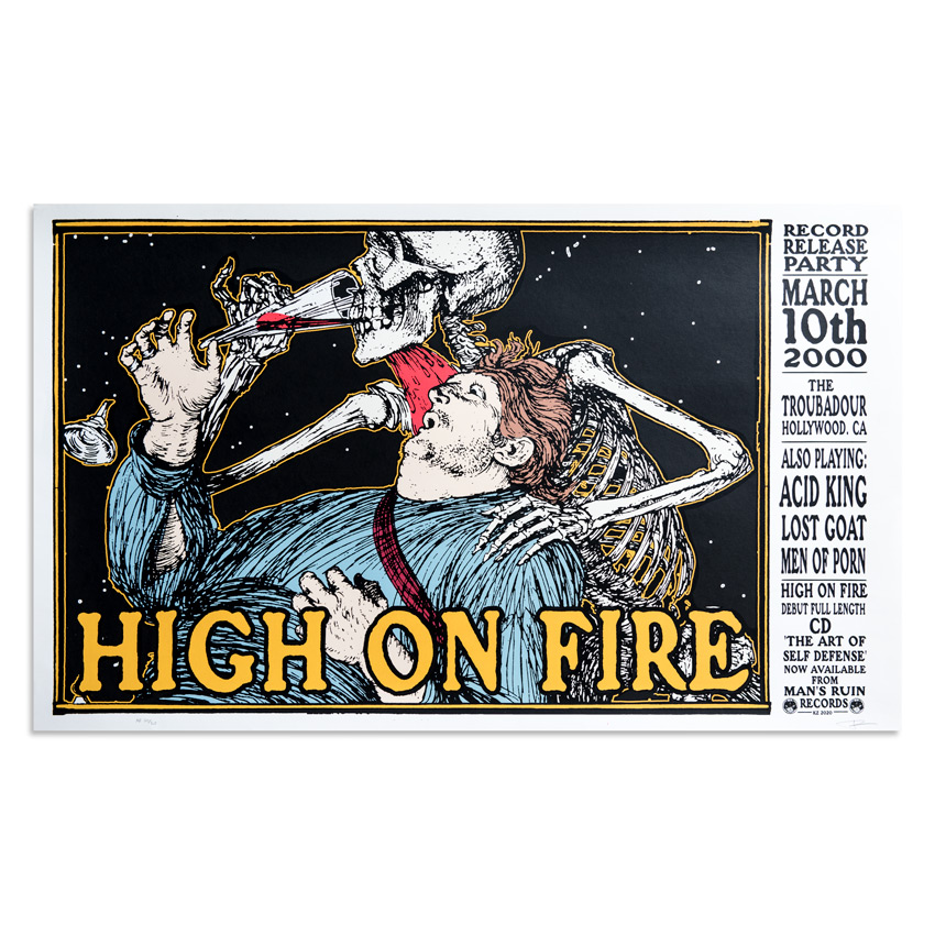 Frank Kozik Art Print - High On Fire - Los Angeles - March 10, 2000