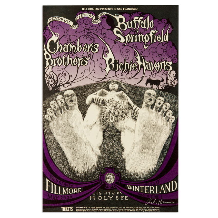 Lee Conklin Art - Buffalo Springfield, Chambers Brothers at Fillmore - Memorial Weekend 1968