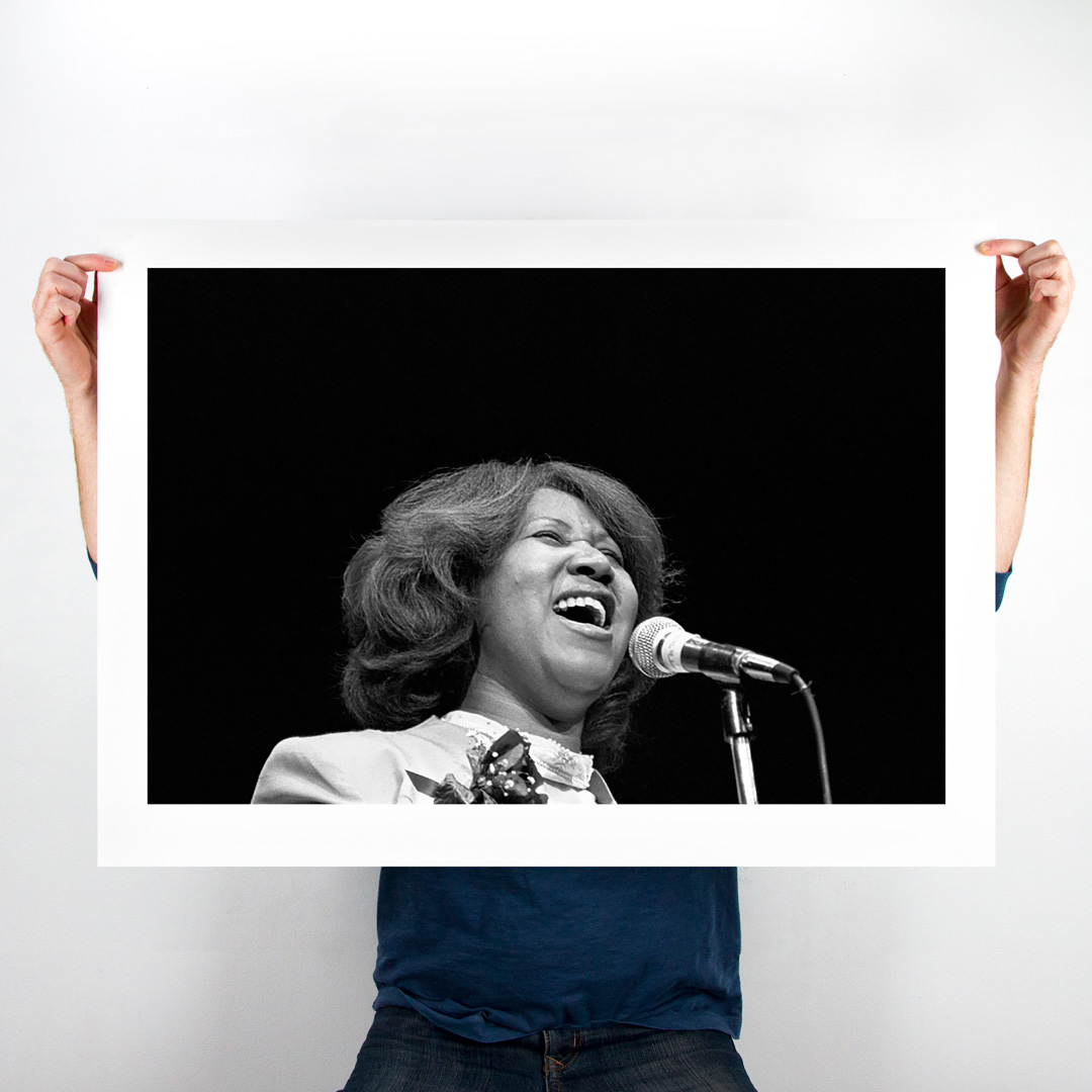 Leni Sinclair Art Print - 36 x 26 Inch Edition - Aretha Franklin - Cobo Hall - 1980