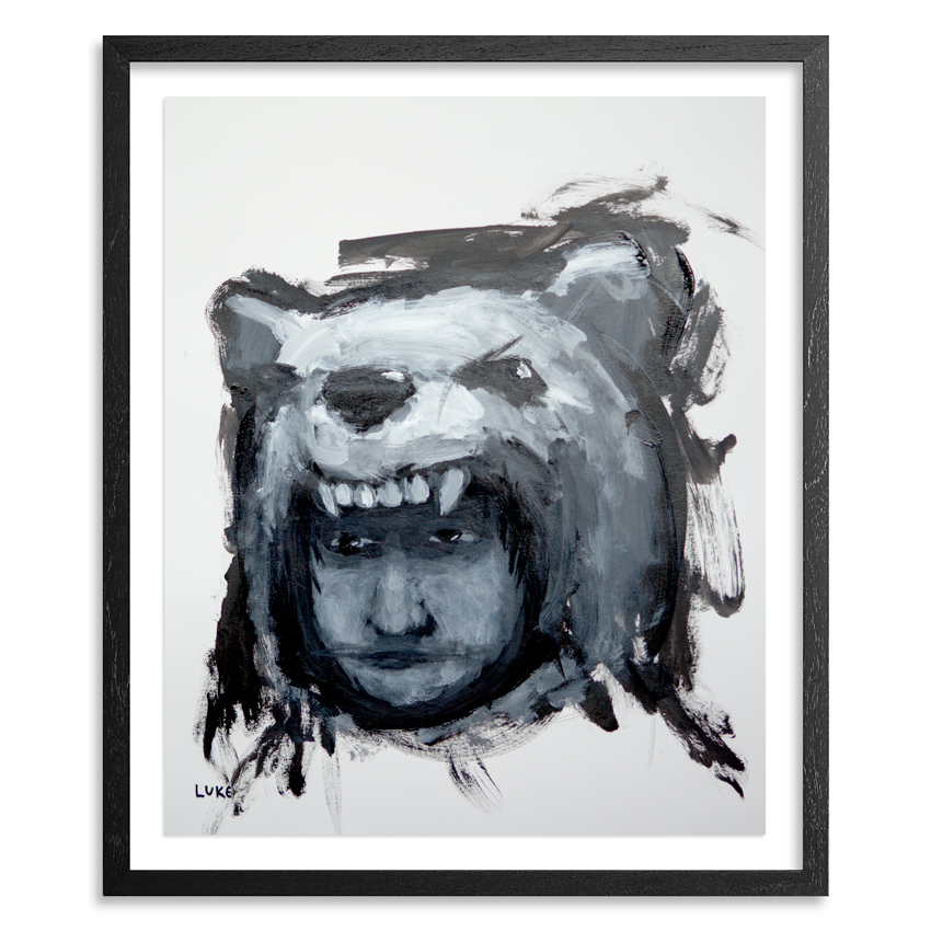 Luke Chueh Original Art - Boy In Bear Costume