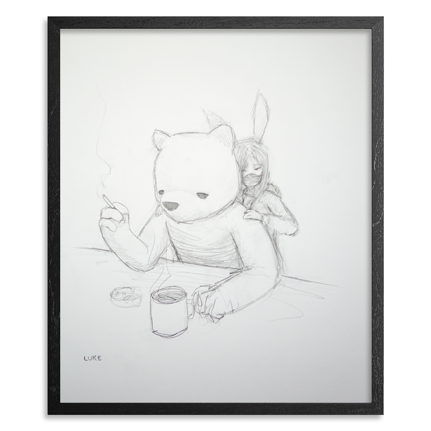 Luke Chueh Original Art - The Bear & The Bunny