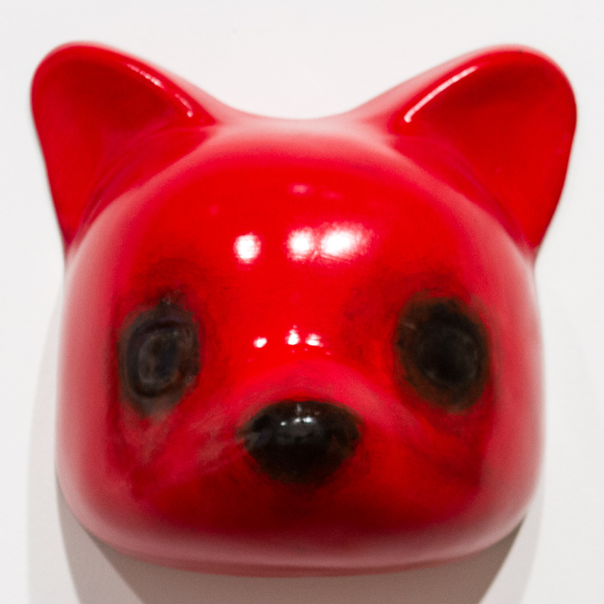 Luke Chueh Art - Vaccuuform Bear Head - Red