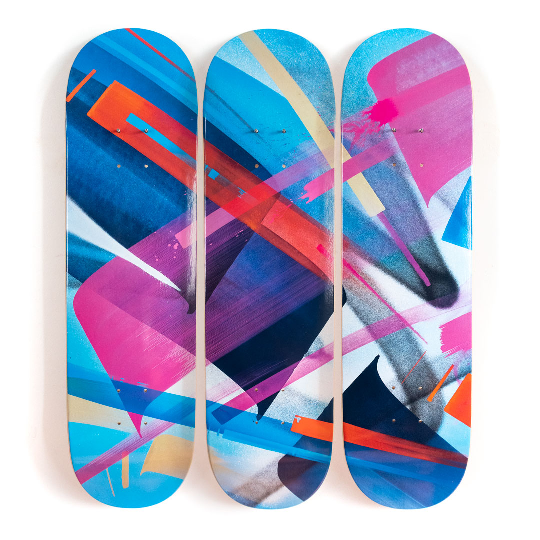 MadC Art - 3-Deck Tryptic - Bluebird - Skate Deck Variant