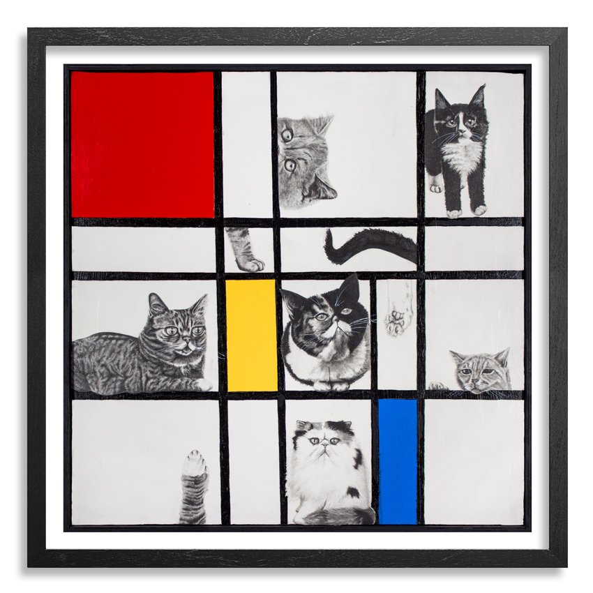 Mary Williams Art - Composition With Cats - Framed