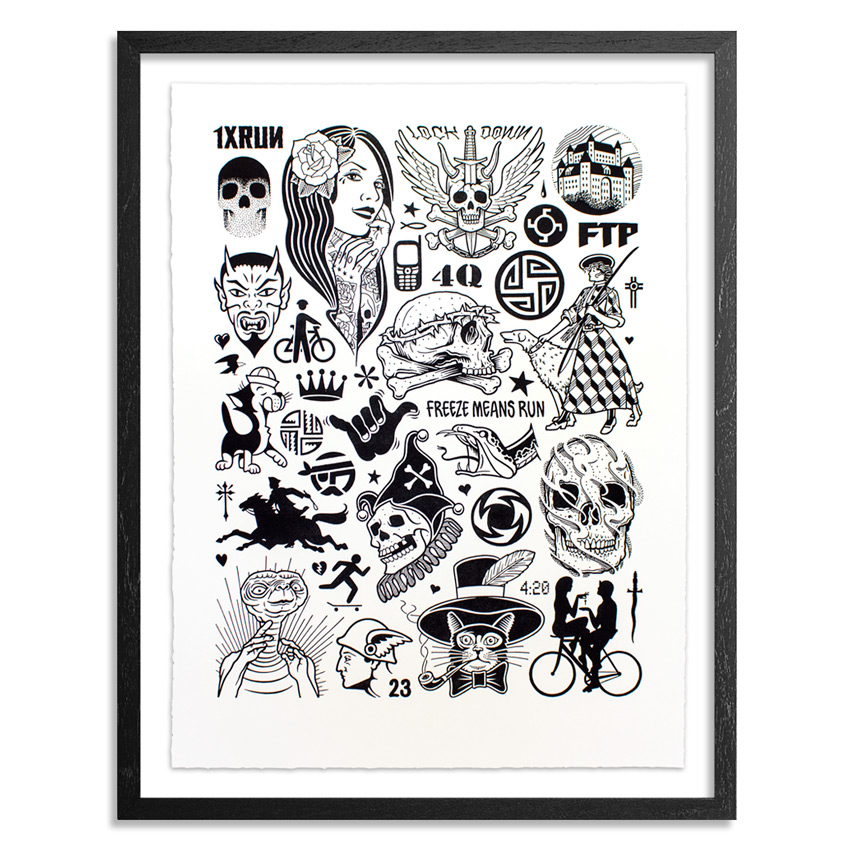 Mike Giant Art Print - Modern Hieroglyphics - Framed