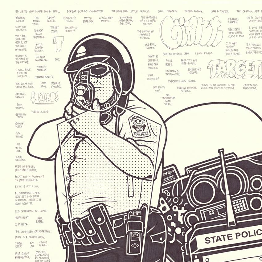 Mike Giant Original Art - Traffic Cop | 1xRUN