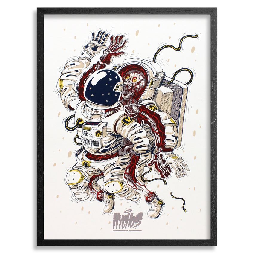 Nychos Art Print - Dissection Of An Astronaut - Framed