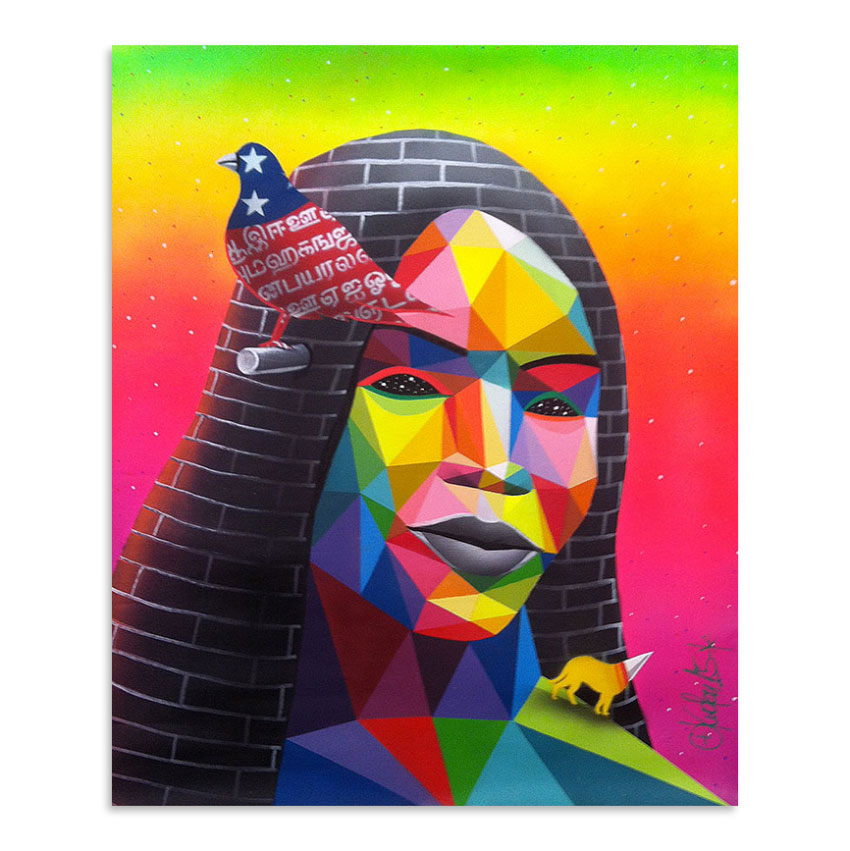 Okuda Original Art - Cement Queen