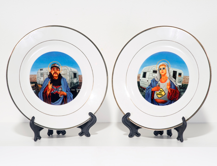 Peter Adamyan Art - Trailer Park Jesus & Mary - Two Plate Set