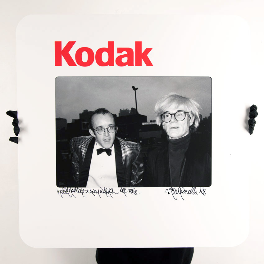 Ricky Powell Art Print - Keith Haring and His Idol Andy Warhol. NYC. 1986 - 24 x 24 Inch Edition