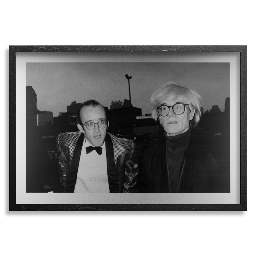 Ricky Powell Art Print - Keith Haring and His Idol Andy Warhol. NYC. 1986 - Aluminum Edition