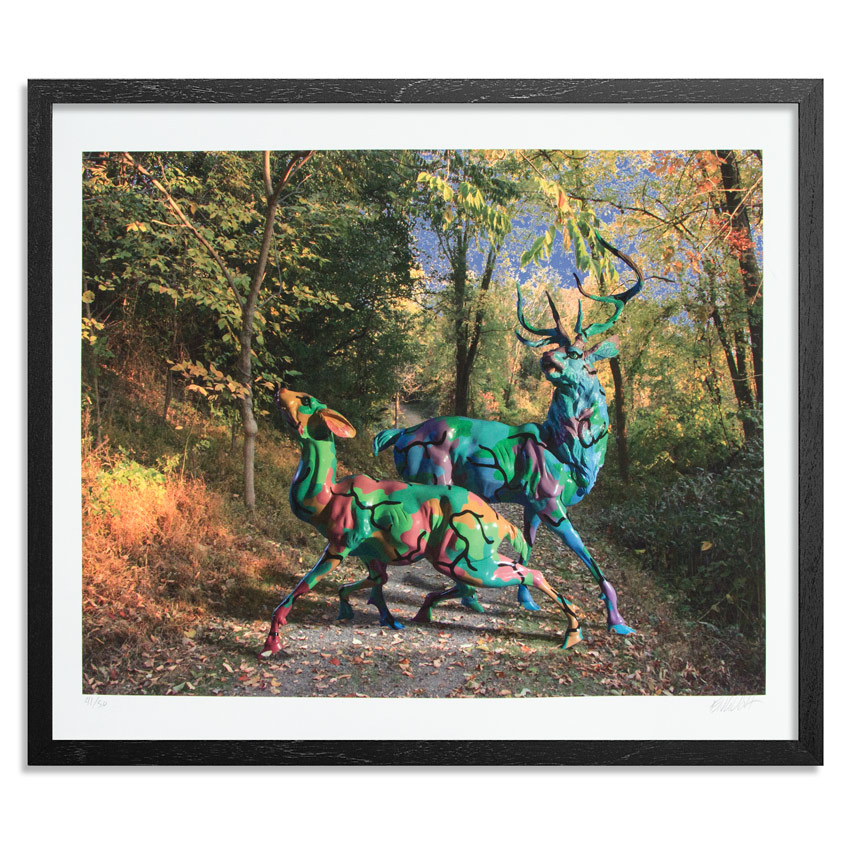Ron English Art Print - Camo Deer In Enchanted Forest