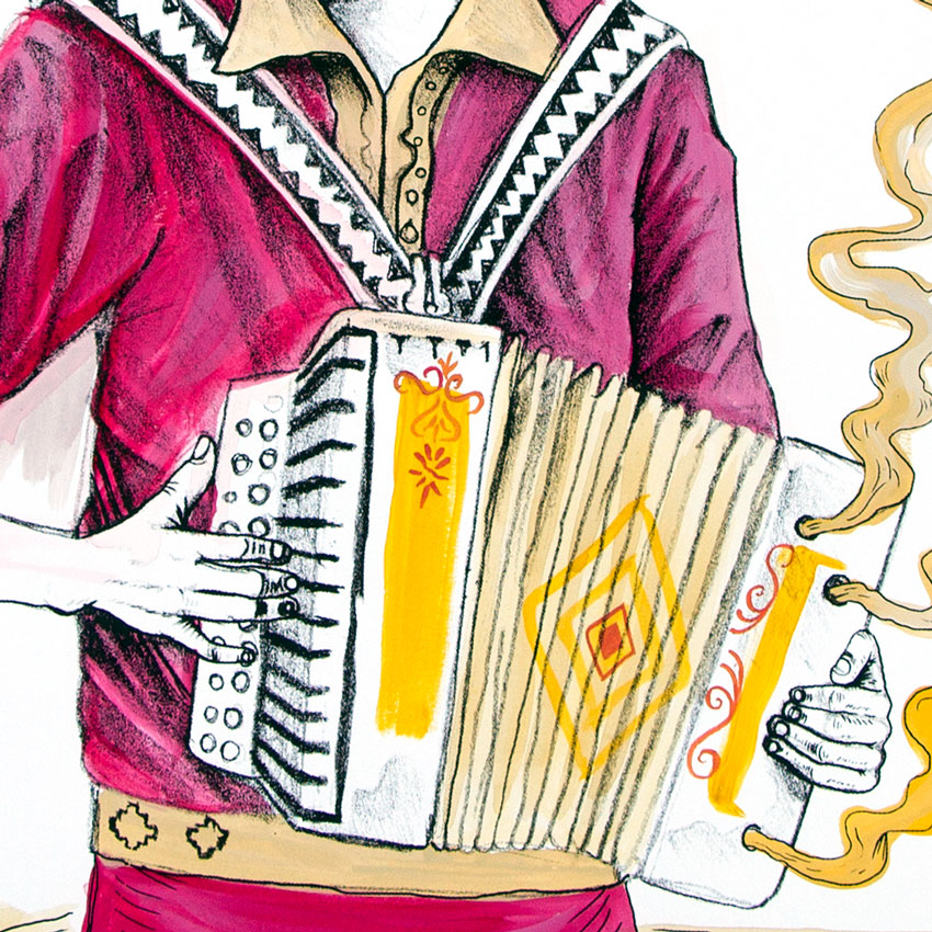 El Norteno Playing The Accordion - Hand Painted Multiple 08
