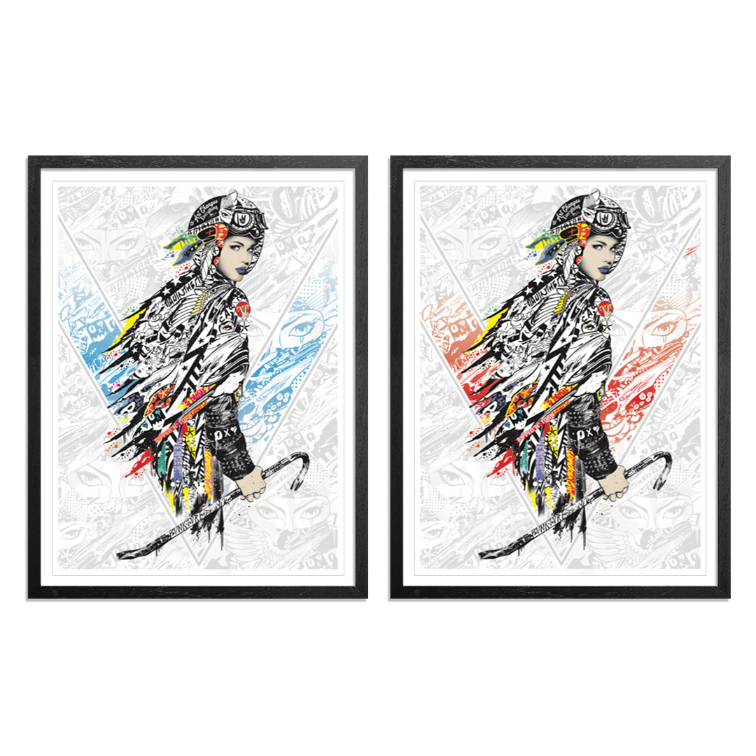 Prefab77 Art Print - 2-Print Set - White Line Fever - Blue + Red Variant