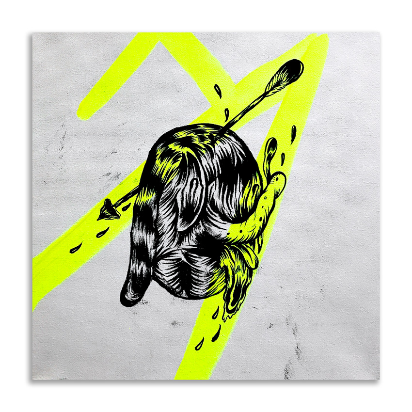 Spencer Keeton Cunningham Original Art - Dog With Arrow In Head