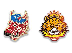 Art by Mark Sarmel - Artist Pins - King Dragon + El Ojo de Tigre