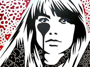 Art Print by Pure Evil - 01 Hand-Finished Variant - Françoise Hardy - Jacques Dutronc's Nightmare - Red & Black Edition