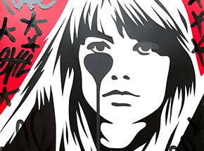 Art Print by Pure Evil - 02 Hand-Finished Variant - Françoise Hardy - Jacques Dutronc's Nightmare - Red & Black Edition