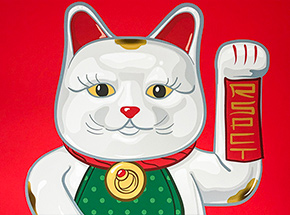 Art Print by Mark Sarmel - Lucky Cat - White Edition