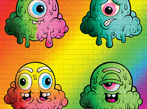Art Print by Buff Monster - Motley Rainbow - Blotter Edition