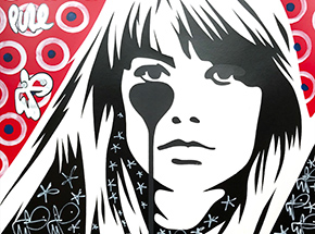 Art Print by Pure Evil - 03 Hand-Finished Variant - Françoise Hardy - Jacques Dutronc's Nightmare - Red & Black Edition