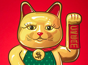 Art Print by Mark Sarmel - Lucky Cat - Gold Edition