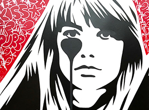 Art Print by Pure Evil - 04 Hand-Finished Variant - Françoise Hardy - Jacques Dutronc's Nightmare - Red & Black Edition
