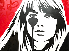Art Print by Pure Evil - 05 Hand-Finished Variant - Françoise Hardy - Jacques Dutronc's Nightmare - Red & Black Edition