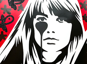 Art Print by Pure Evil - 06 Hand-Finished Variant - Françoise Hardy - Jacques Dutronc's Nightmare - Red & Black Edition