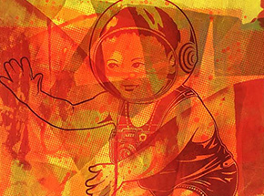 Art Print by ASVP - Space Baby - Yellow & Red Edition