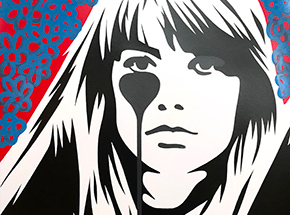 Art Print by Pure Evil - 09 Hand-Finished Variant - Françoise Hardy - Jacques Dutronc's Nightmare - Red & Black Edition