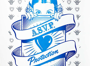 Art Print by ASVP - Protection Girl - Blue & Silver Edition