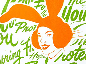 Art Print by ASVP - Bunny Girl - Orange & Green Edition