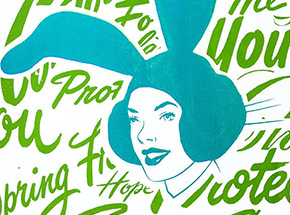 Art Print by ASVP - Bunny Girl - Teal & Green Edition