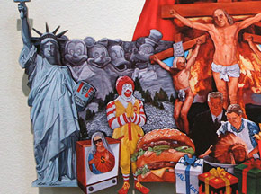 Art Print by Peter Adamyan - Wood Cut Out - Painting to a Christian Nation (God Bless This Mess)