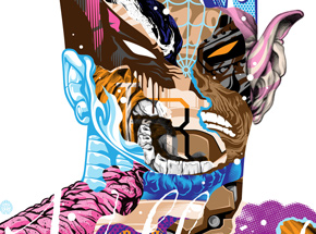 Art by Tristan Eaton - Heroes Are Villains - Framed